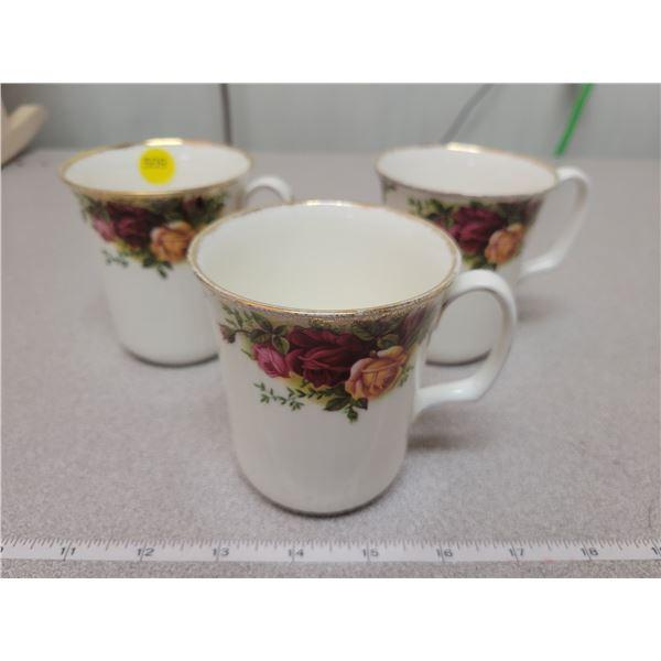 Three 'Old Country Rose' Royal Albert coffee mugs
