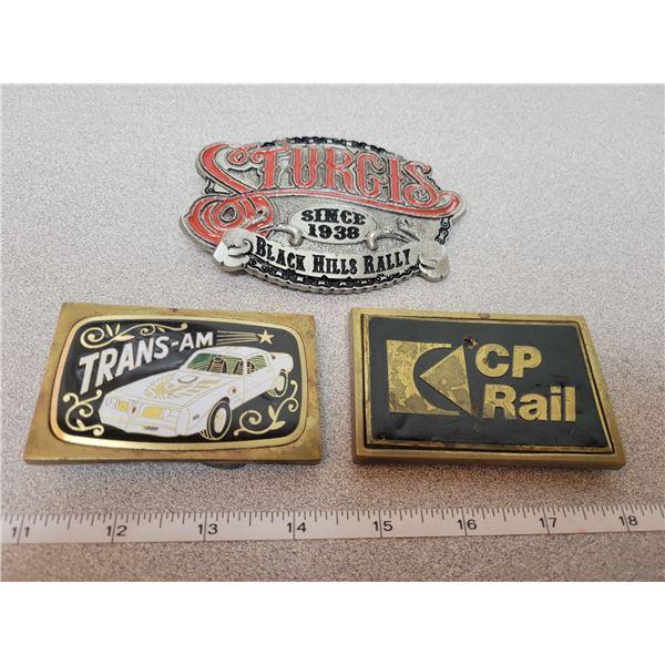 Three belt buckles - CP rail, Trans Am, Sturgis Black Hills Rally 2006