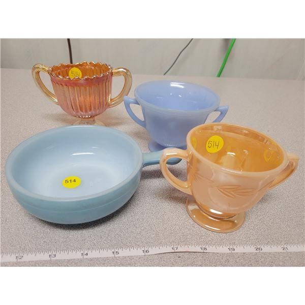 Glasbake dish, Delphite, Peach lustre & carnival glass sugar bowl