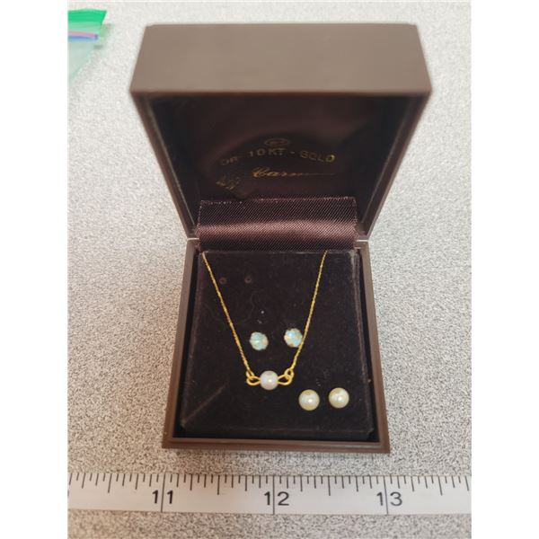 """10Kt gold baby necklace - 7"""" long & earrings"""