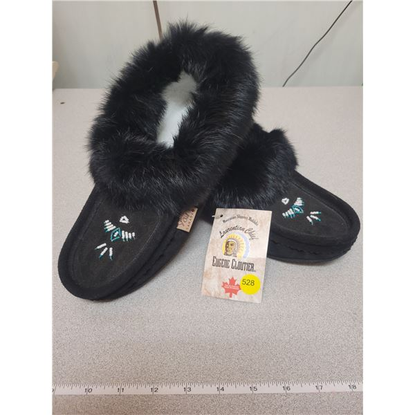 Ladies black moccasins, new, size 10 - Made in Canada