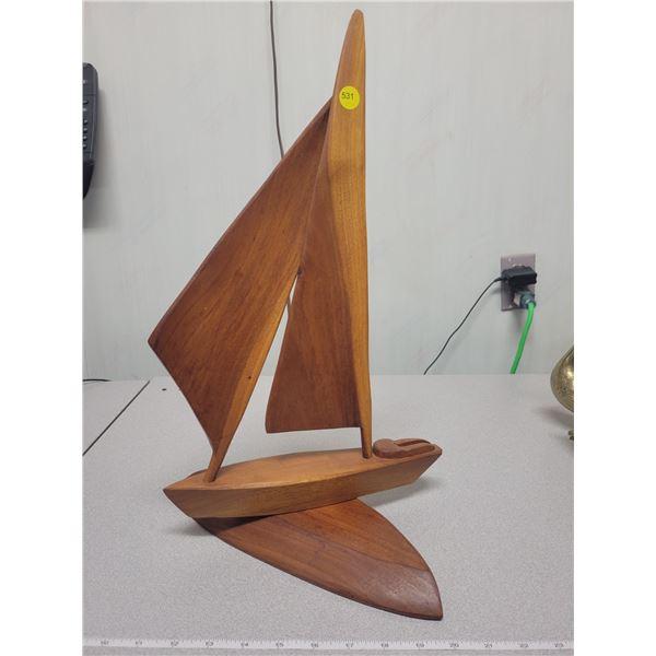 Teak sailboat - 18 inches high - adjustable base