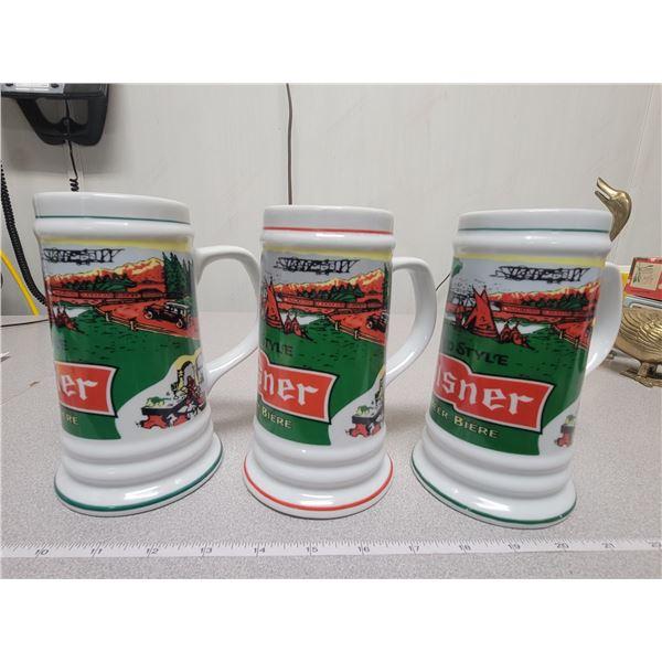 Tall pilsner beer mugs (three)