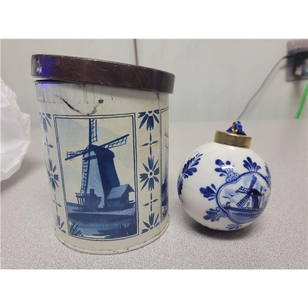 Delft Christmas ball ornament in tin