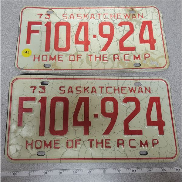 """1973 """"Home of the RCMP"""" license plates"""