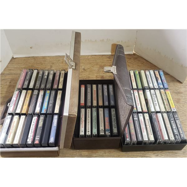 large lot of  cassettes in cases popular artists The Beatles, Roy Orbison, Neil Young +++