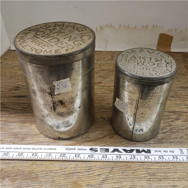 2 old magic baking powder tins