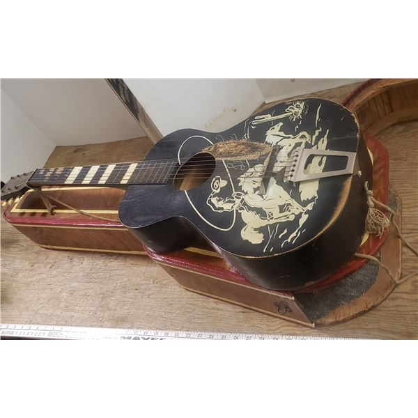 """cowboy guitar 24 1/2"""" scale approx with custom made hard wood case, well played guitar"""