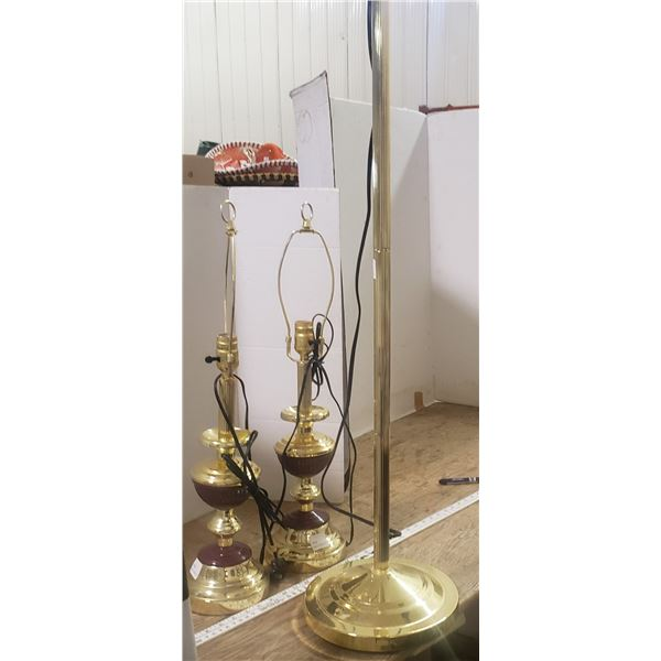 3 retro lamp set (no shades)one tall floor lamp and two table lamps matching