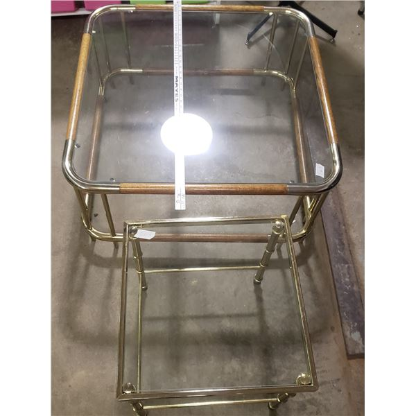 brass and glass coffee table and side table
