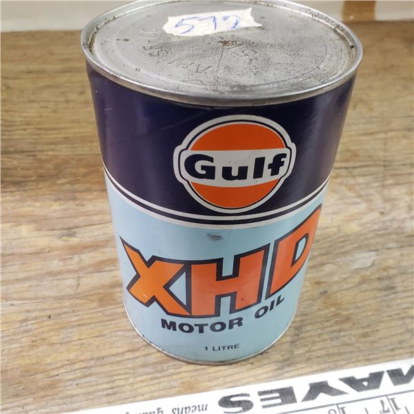 rare gulf HXD oil can (cardboard) unopened
