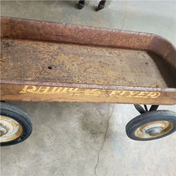 Radio Flyer red wagon vintage original - not red any more but graphics look nicer than allot we see
