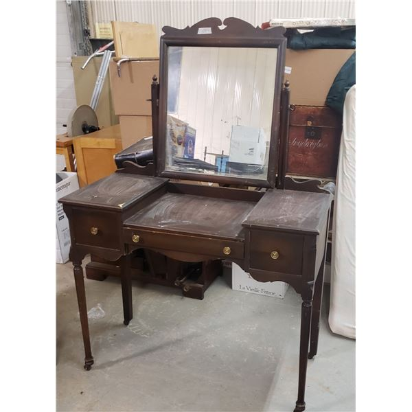 """Hardwood dressing table mirror desk bedroom furniture ( from Estate)  approximately 42"""" w mirror 21"""""""