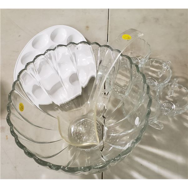 vintage punch bowl set glassware with bowl, spoon and glasses/cups ( from Estate)
