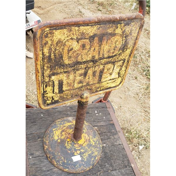 Grand Theater sign from Hotel Saskatchewan in Regina, in its own very heavy base