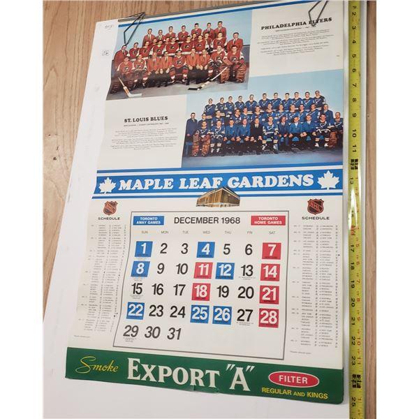 Toronto Maple Leaf's Export A Calendar 1968-1969