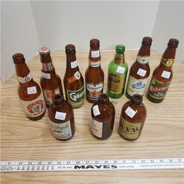 Lot of long neck and stubby beer bottles