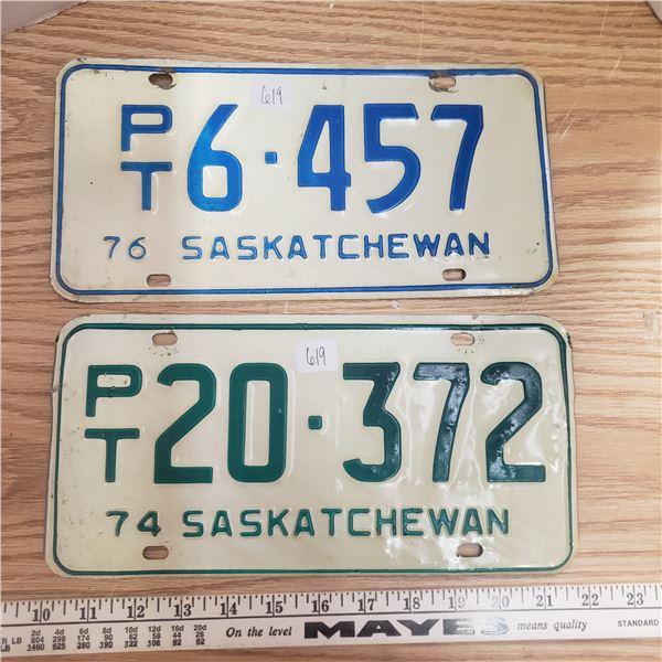 1974 and 1976 PT Saskatchewan license plates