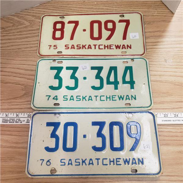 1974, 1975, 1976 Saskatchewan license plates