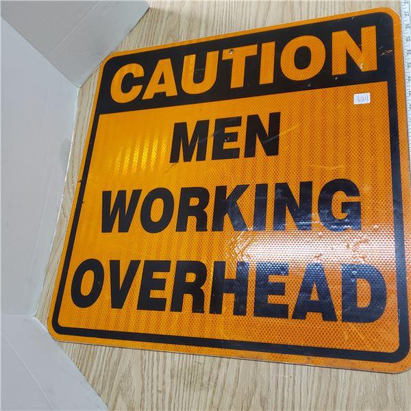 Road sign Caution Men Working Overhead