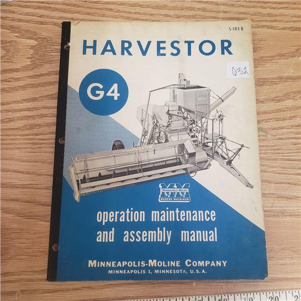 Minneapolis Moline Harvest Combine manual 75 pages