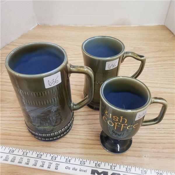 three Wade Irish porcelain mugs