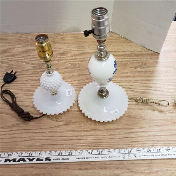 Hobnail milk glass table lamps