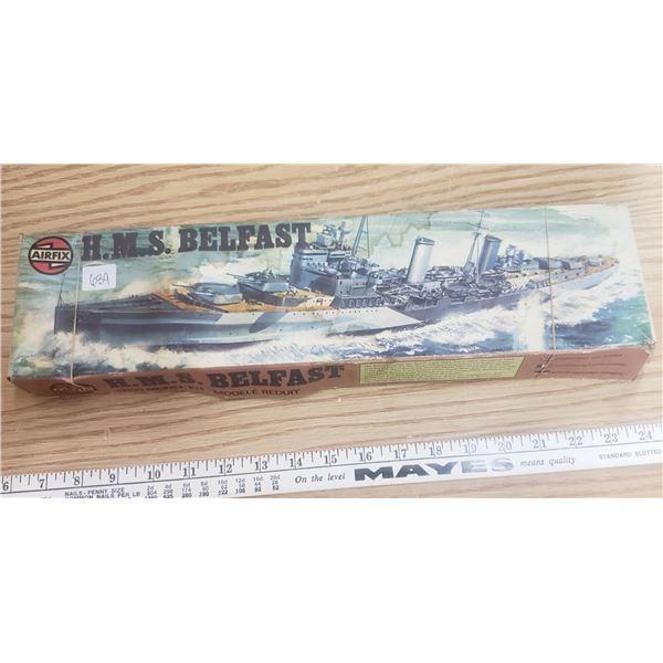 Airfix H<S Belfast navy ship model 1/600 scale