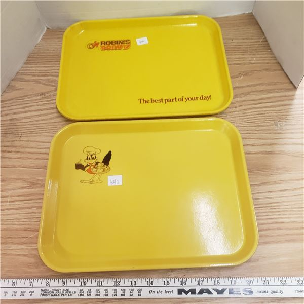 two vintage Robins donuts advertising trays
