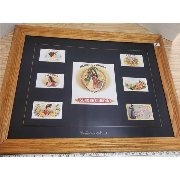 "cigar box covers vintage print framed 21"" x 27"""