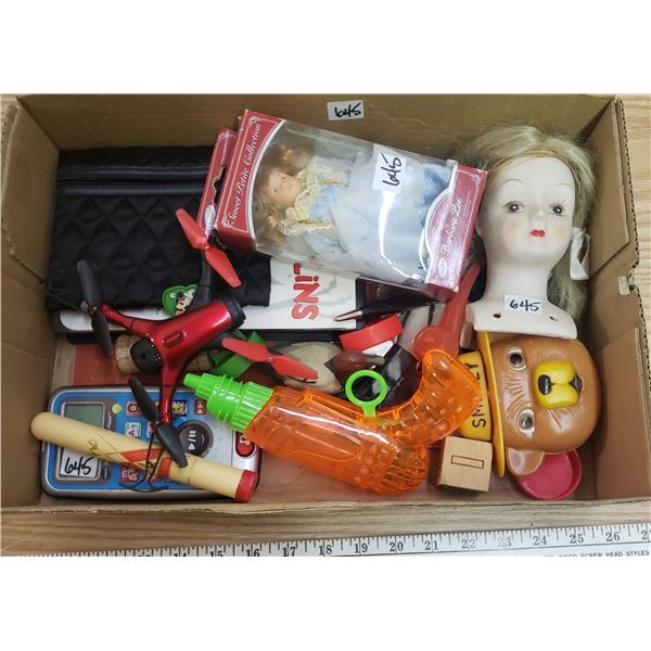 box filled with lot of kids toys
