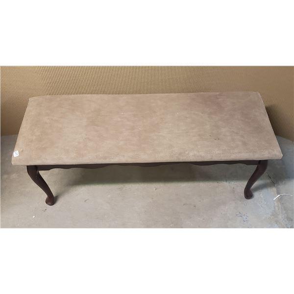 4 foot long bench upholstered queen Anne legs