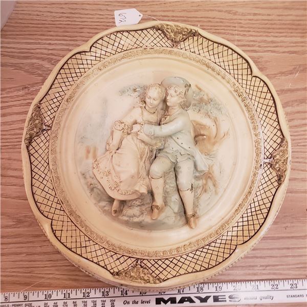 """Victorian Style 15"""" chalkware wall plaque"""