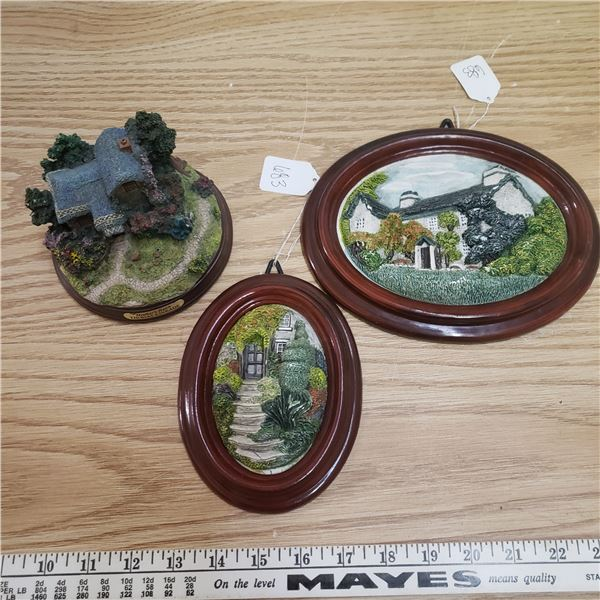 Hand crafted Cumbria England Wall plaques and lite up house