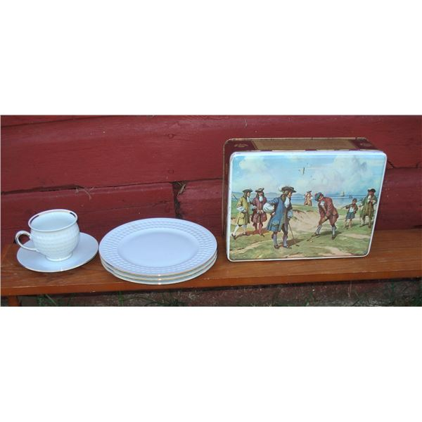 golf collectibles tin and dishes