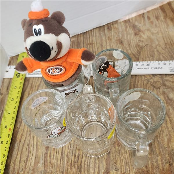 assortment of A & W A and W collectibles