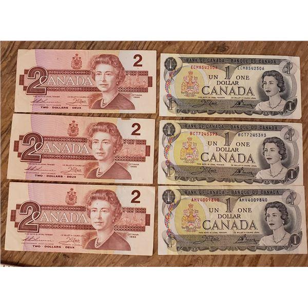 group of 3 1.00 dollar $1 and 3 2.00 dollar $2 bills (heavily circulated)