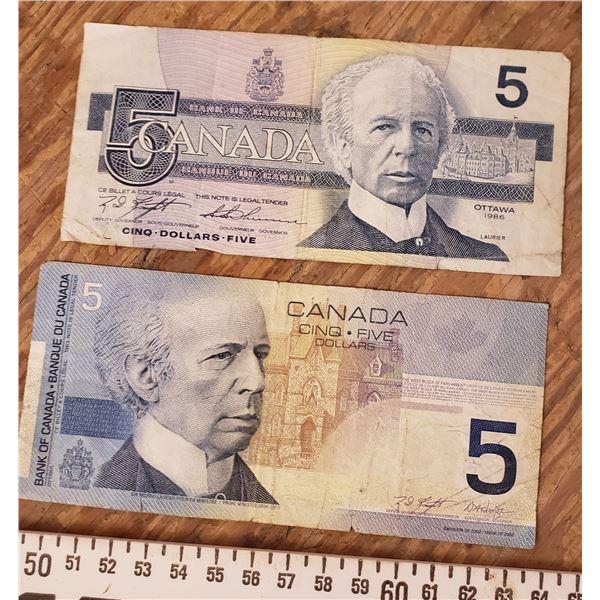 two five dollar bills $5
