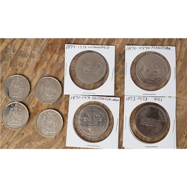 4 silver dollars and 4 fifty cent coins (50 cent pieces): Manitoba Winnipeg, PEI, BC