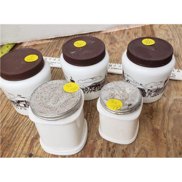 5 milk glass white jars