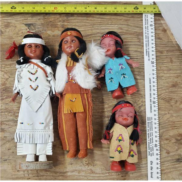 4 vintage native dolls