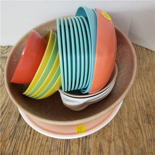 assortment camping dishes (some Melmac)