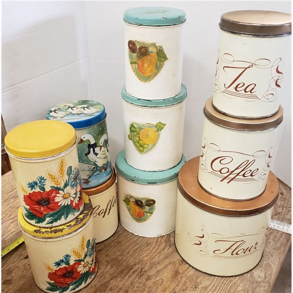 assorted canisters