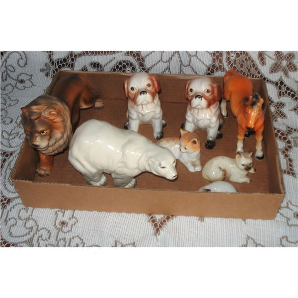 flat full of  animal figurines dogs cats +