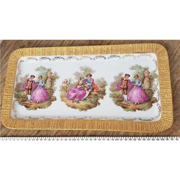 beyreuth serving dish with gold trim