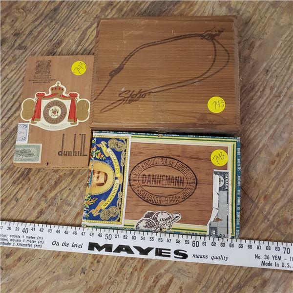 wood cigar boxes and wod stetson box