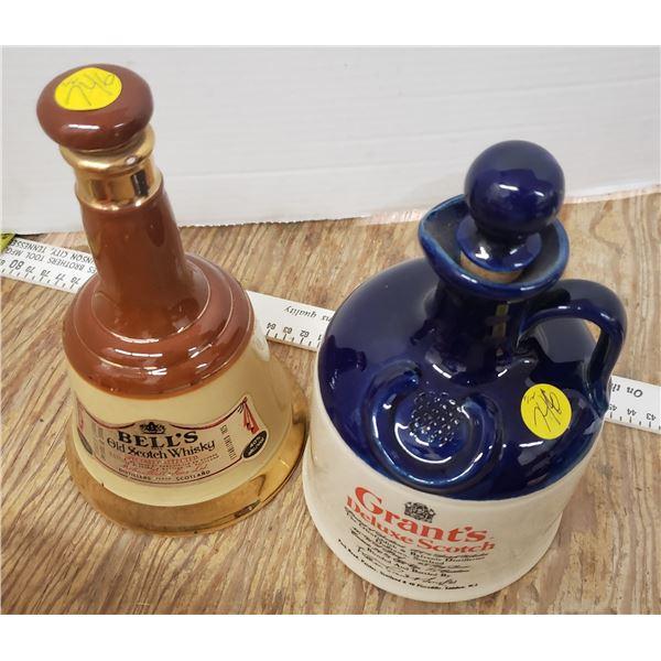 pair of vintage scotch bottles