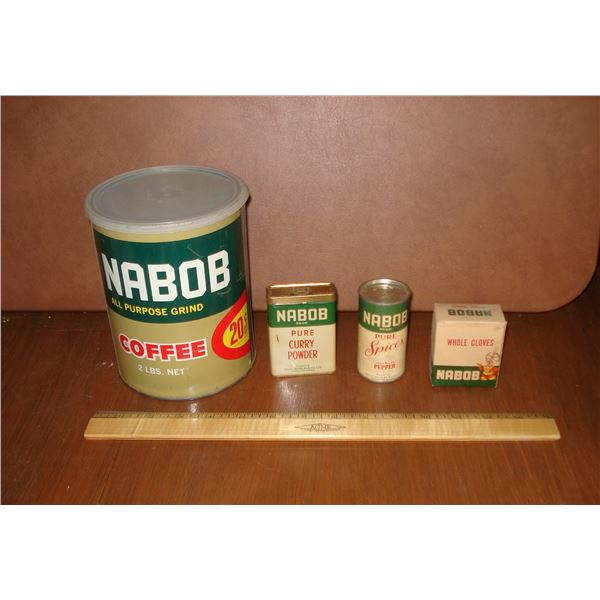 Vintage Nabob collectible lot some look like they are still on the grocery shelf Nabob spices coffee