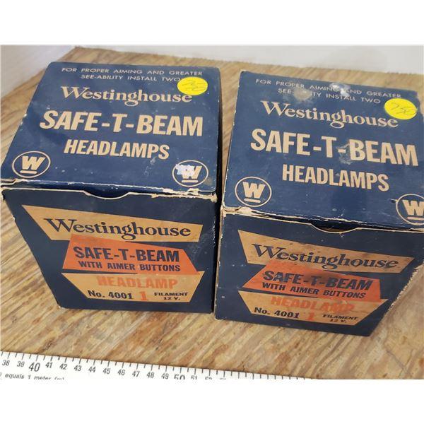 pair of vintage headlights head lamps