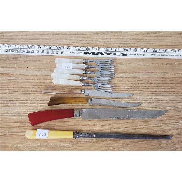 9 Bakelite kitchen knives, forks sharpener